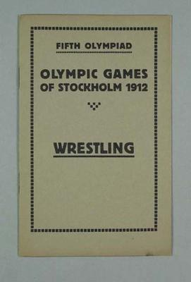 Programme - Wrestling Programme, Rules & Regulations, 1912 Stockholm Olympic Games