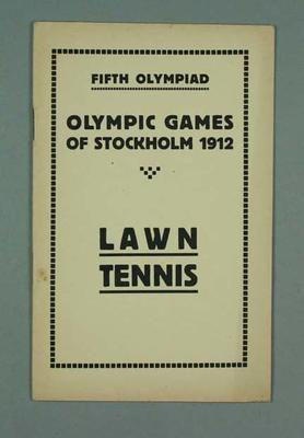 Programme - Lawn Tennis Programme, Rules & Regulations, 1912 Stockholm Olympic Games