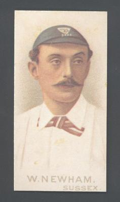 1982 Wills' Cigarettes Cricketers A Nostalgia Reprint W Newham trade card; Documents and books; M9889.34