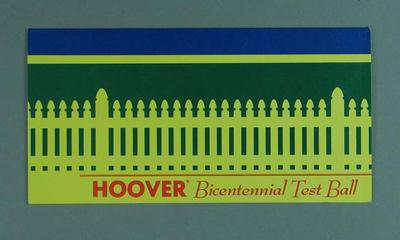 Invitation to Bicentennial Test Ball, North Sydney Oval 1988