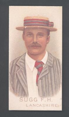 1982 Wills' Cigarettes Cricketers A Nostalgia Reprint F H Sugg trade card