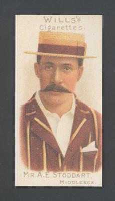 1983 Wills' Cigarettes Cricketers A Nostalgia Reprint A E Stoddart trade card