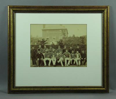 Sepia photograph, Australian XI - 1886 Tour of England; Photography; Framed; 1987.1792.1