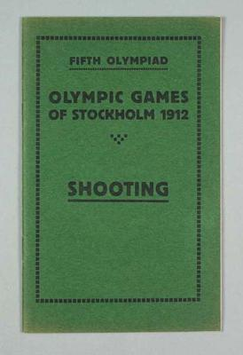 Programme - Shooting Programme, Rules & Regulations, 1912 Stockholm Olympic Games