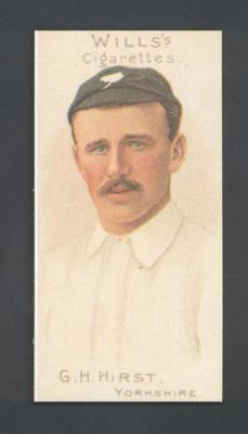 1983 Wills' Cigarettes Cricketers A Nostalgia Reprint G H Hirst trade card; Documents and books; M9890.6