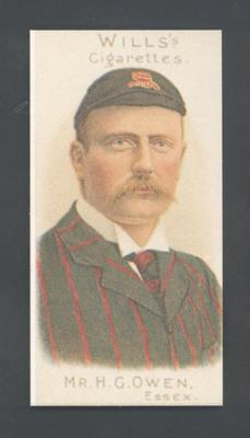 1983 Wills' Cigarettes Cricketers A Nostalgia Reprint H G Owen trade card; Documents and books; M9890.17