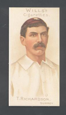 1983 Wills' Cigarettes Cricketers A Nostalgia Reprint T Richardson trade card; Documents and books; M9890.20