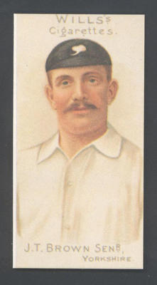 1983 Wills' Cigarettes Cricketers A Nostalgia Reprint J T Brown trade card