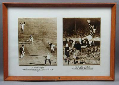 Two action photographs framed and mounted together - 'A Great Catch' and 'A Brilliant Mark'; Photography; Framed; M11412