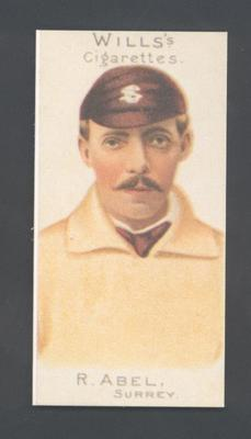 1983 Wills' Cigarettes Cricketers A Nostalgia Reprint R Abel trade card; Documents and books; M9890.23