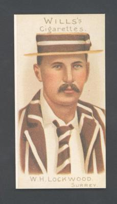 1983 Wills' Cigarettes Cricketers A Nostalgia Reprint W H Lockwood trade card; Documents and books; M9890.26