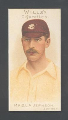 1983 Wills' Cigarettes Cricketers A Nostalgia Reprint D L A Jephson trade card; Documents and books; M9890.28