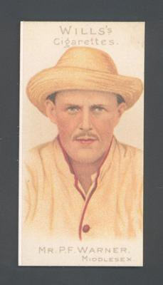 1983 Wills' Cigarettes Cricketers A Nostalgia Reprint P F Warner trade card; Documents and books; M9890.45