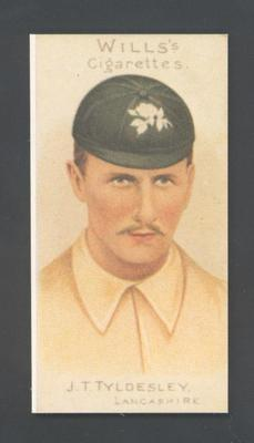 1983 Wills' Cigarettes Cricketers A Nostalgia Reprint J T Tyldesley trade card; Documents and books; M9890.46