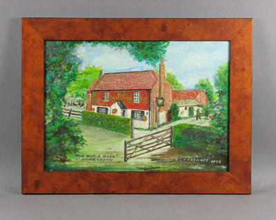Oil painting, depicts 'The Bat & Ball' pub