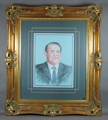 Copy of portrait of Ron Casey, sports broadcaster, signed by artist Bill Millar