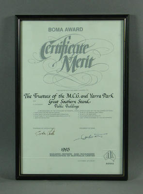 Certificate awarded to MCG Trust, for construction of Great Southern Stand - 1993