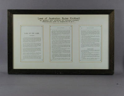 """Copied document, """"Laws of Australian Rules Football 1877"""""""