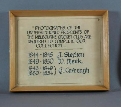 Notice requesting photographs of former MCC Presidents, for MCC collection