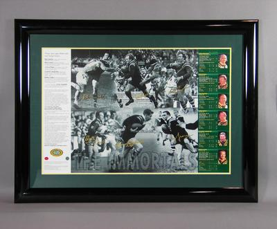 """Framed print, """"The Immortals - Rugby League""""; Documents and books; Framed; M11477"""