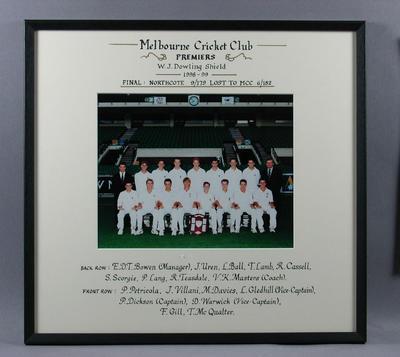 Photograph of Melbourne Cricket Club, W J Dowling Shield Premiers 1998-99