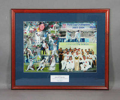 Photograph of Victorian Bushrangers, Pura Cup Champions 2003-04; Artwork; Framed; M11525