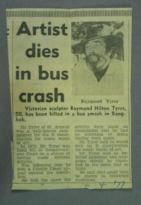 """Newspaper clipping, """"Artist dies in bus crash"""" - 14 Apr 1977"""