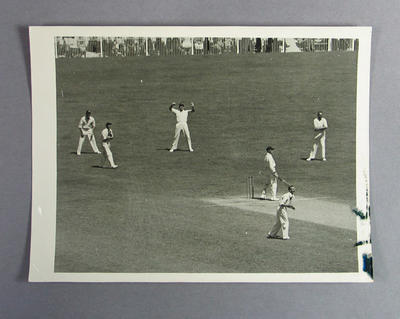 Photograph of cricketer batting, c1920s-30s