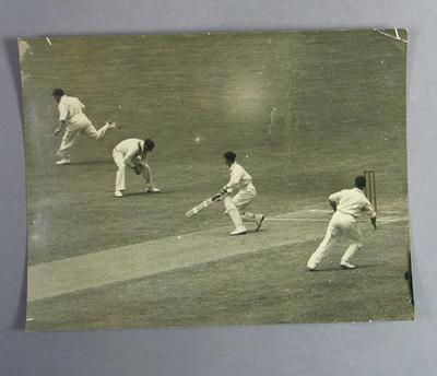 Photograph of Australian cricketer batting, c1936-37; Photography; M11714