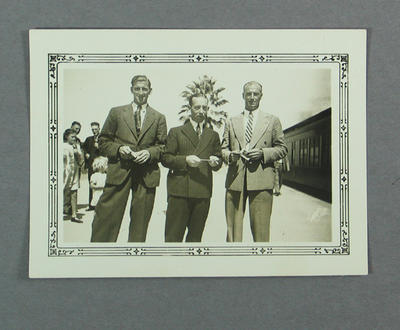 Photograph of Ernie McCormick, Lindsay Hassett & Keith Rigg, travelling to Perth Feb 1939