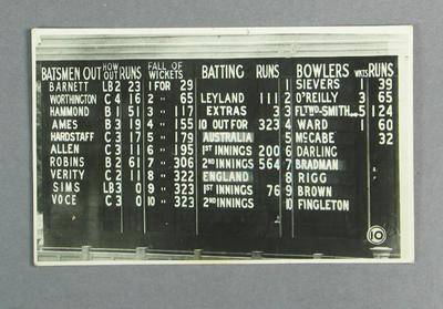 Postcard, image of Australia v England Test scorecard - Melbourne, Jan 1937