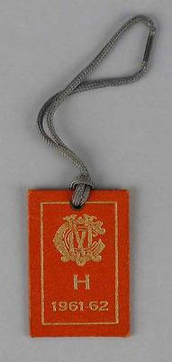 Melbourne Cricket Club ticket issued to Ken Clarke of the MCC Hockey Section, 1961-62 season.
