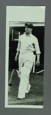 Photograph of Bill Ponsford walking out to bat, undated; Photography; M11701