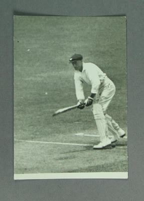 Photograph of cricketer batting, undated