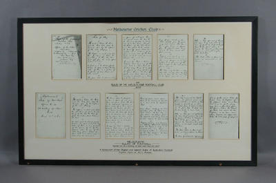 """Facsimile, """"Rules of the Melbourne Football Club and Rules of Australian Football""""; Documents and books; Framed; M11592"""