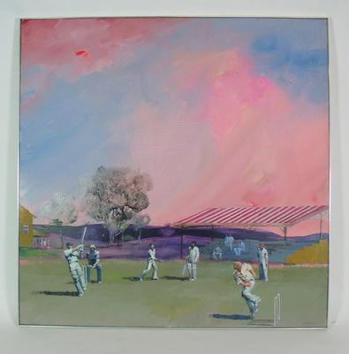 """Oil painting, """"The Cricketers"""", artist Charles Billich; Artwork; Framed; M10472"""