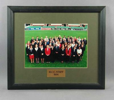 Photograph of Melbourne Cricket Club Staff, 1996; Photography; Framed; M11615