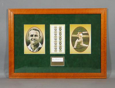 Framed block of stamps, Australian Legends - Don Bradman issue
