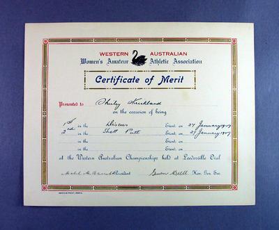 WAWAAA Certificate of Merit awarded to Shirley Strickland, Jan 1947
