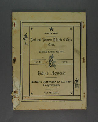 Programme, Auckland Amateur Athletic & Cycle Club Jubilee 1927-28