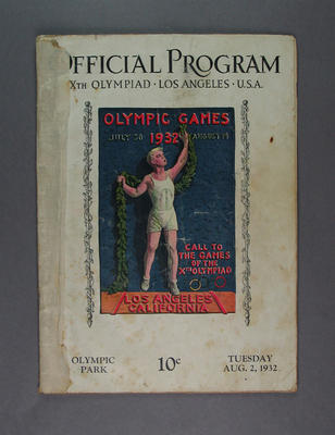 Programme, 1932 Los Angeles Olympic Games