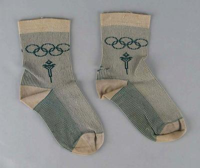 Pair of socks produced for 1956 Olympic Games, issued to hockey player Ken Clarke