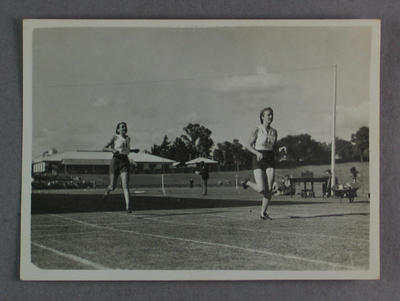 Photograph of Shirley Strickland competing in track event, undated