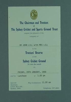 Invitation to SCG Trustee's Reserve for Bicentennial Test, 29 January 1988