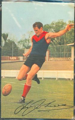 1965 Mobil VFL Footy Photos Tassie Johnson trade card