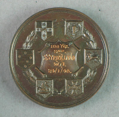 AWAAU 100 yards second place 1948 medal, won by Shirley Strickland