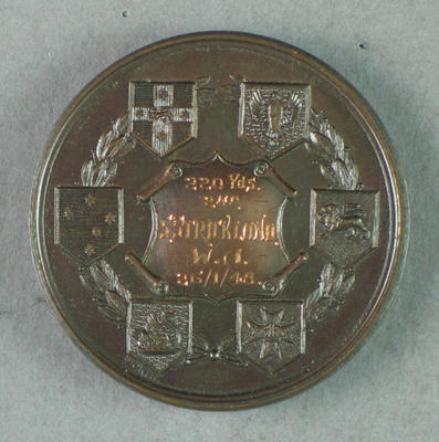 AWAAU 220 yards second place 1948 medal, won by Shirley Strickland