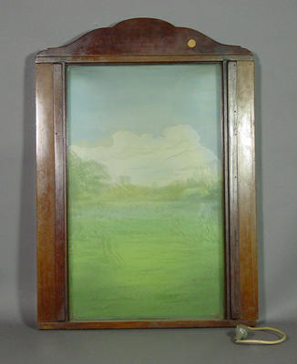 Painting, etched glass with cricket scene