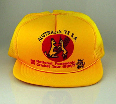 Cap - yellow with Australia vs S.A. in black on the front