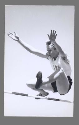 Photograph of Shirley Strickland competing in high jump, undated